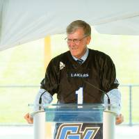 President Tom Haas speaking at the Jamie Hosford Football Center dedication.
